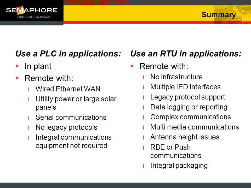 Summary Use a PLC in applications: In plant Remote with: ıWired Ethernet WAN ıUtility power or large solar panels ıSerial communications ıNo legacy pr