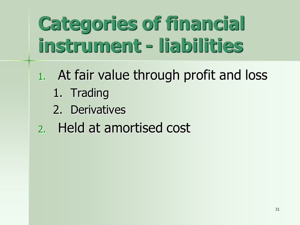 31 Categories of financial instrument - liabilities 1. At fair value through profit and loss 1.Trading 2.Derivatives 2. Held at amortised cost