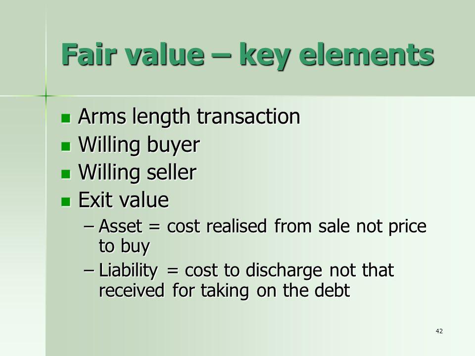 42 Fair value – key elements Arms length transaction Arms length transaction Willing buyer Willing buyer Willing seller Willing seller Exit value Exit