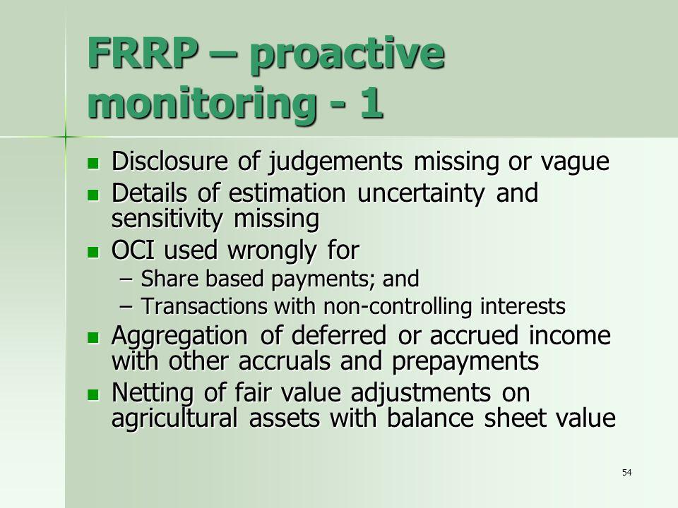 54 FRRP – proactive monitoring - 1 Disclosure of judgements missing or vague Disclosure of judgements missing or vague Details of estimation uncertain