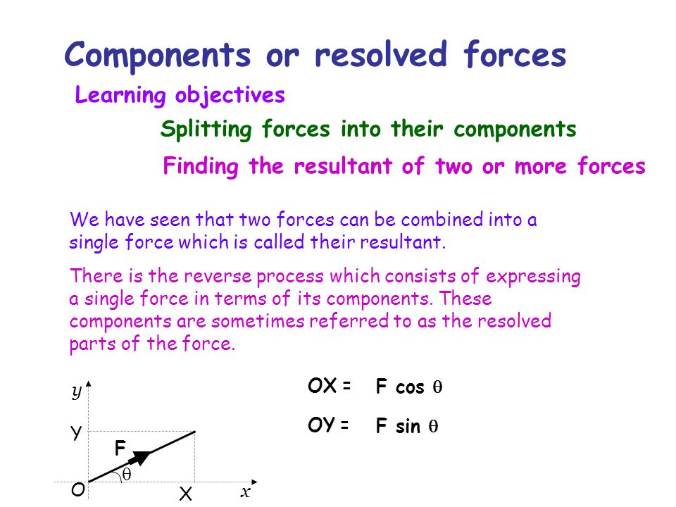 Components or resolved forces We have seen that two forces can be combined into a single force which is called their resultant. There is the reverse p