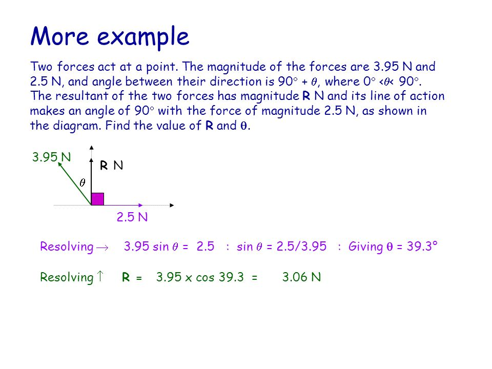 More example Two forces act at a point. The magnitude of the forces are 3.95 N and 2.5 N, and angle between their direction is 90 +, where 0 < < 90. T