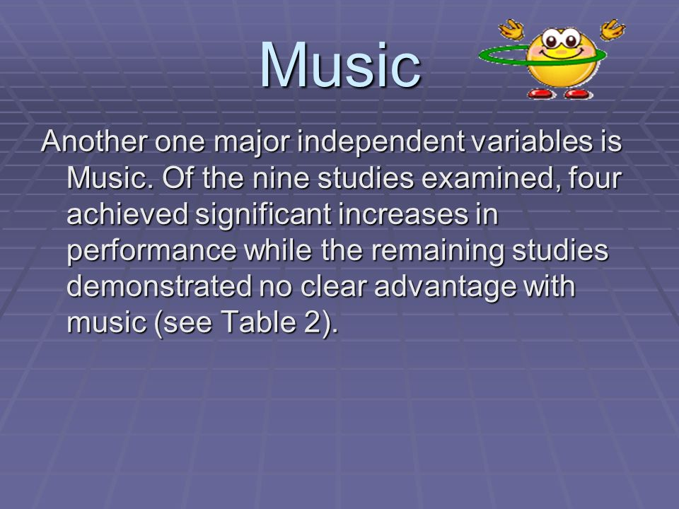 Music Another one major independent variables is Music. Of the nine studies examined, four achieved significant increases in performance while the rem