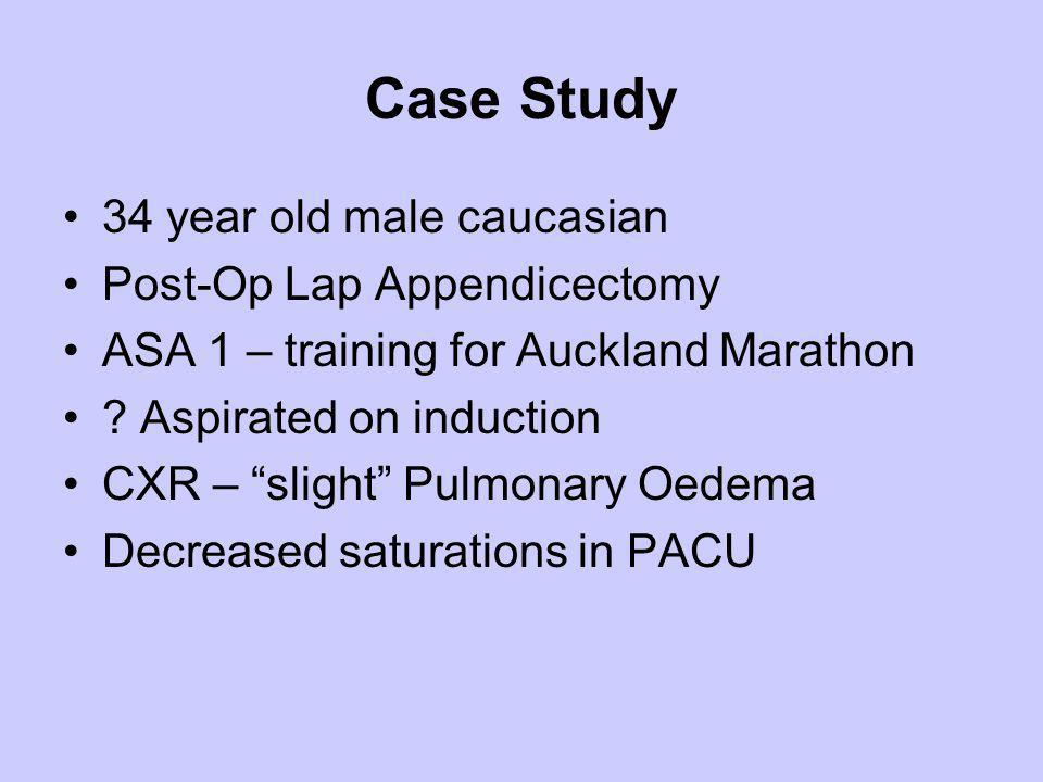 Case Study 34 year old male caucasian Post-Op Lap Appendicectomy ASA 1 – training for Auckland Marathon ? Aspirated on induction CXR – slight Pulmonar