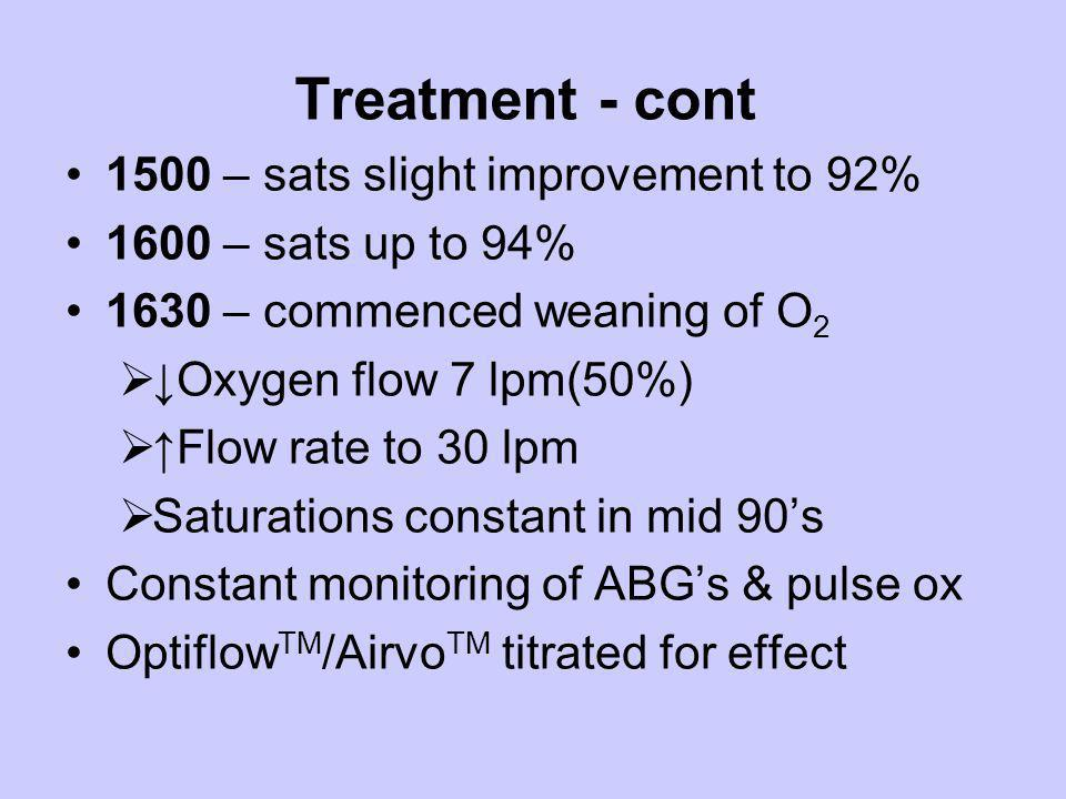 Treatment - cont 1500 – sats slight improvement to 92% 1600 – sats up to 94% 1630 – commenced weaning of O 2 Oxygen flow 7 lpm(50%) Flow rate to 30 lp
