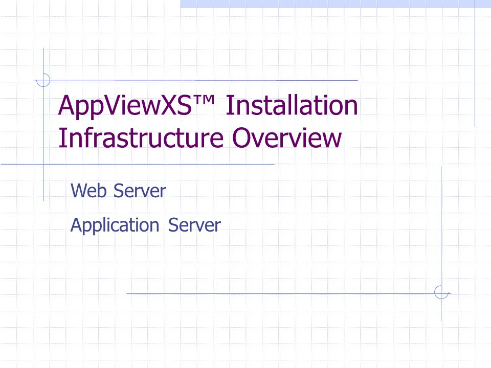 AppViewXS Installation Infrastructure Overview Web Server Application Server