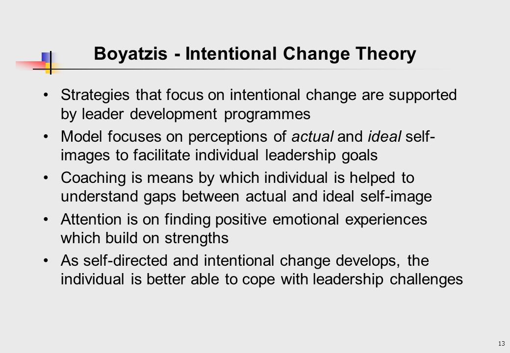 13 Boyatzis - Intentional Change Theory Strategies that focus on intentional change are supported by leader development programmes Model focuses on perceptions of actual and ideal self- images to facilitate individual leadership goals Coaching is means by which individual is helped to understand gaps between actual and ideal self-image Attention is on finding positive emotional experiences which build on strengths As self-directed and intentional change develops, the individual is better able to cope with leadership challenges