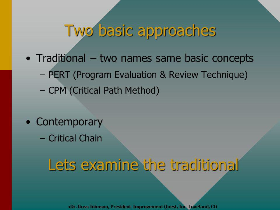 Two basic approaches Traditional – two names same basic concepts – –PERT (Program Evaluation & Review Technique) – –CPM (Critical Path Method) Contemp