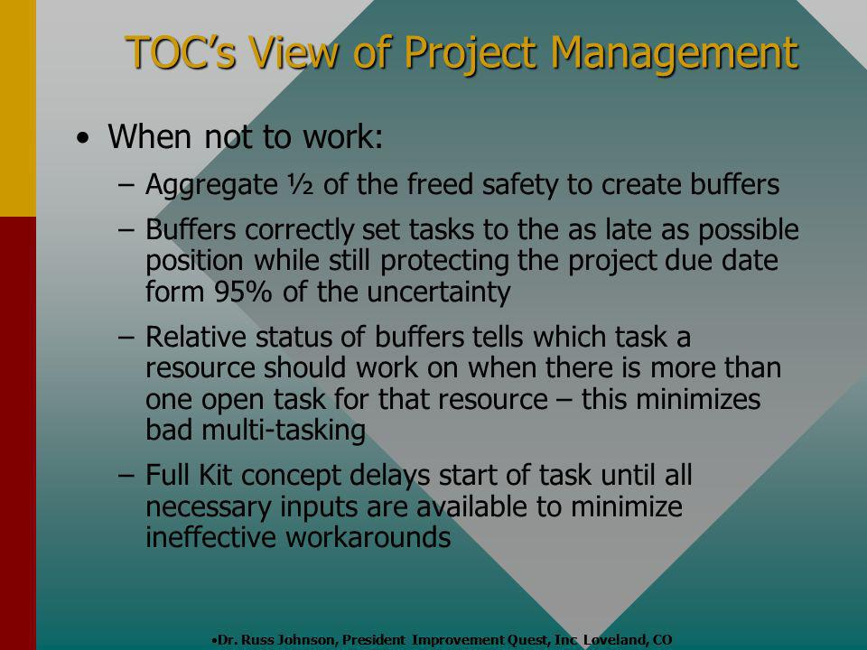 TOCs View of Project Management When not to work: – –Aggregate ½ of the freed safety to create buffers – –Buffers correctly set tasks to the as late a