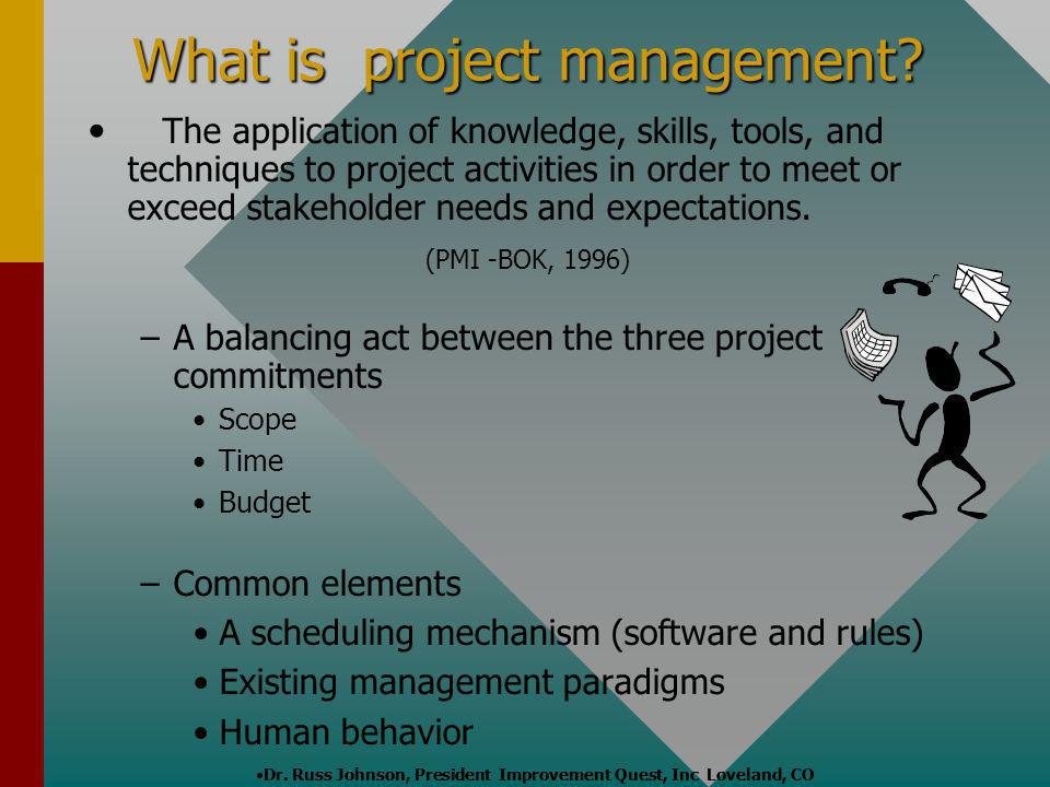 The application of knowledge, skills, tools, and techniques to project activities in order to meet or exceed stakeholder needs and expectations. (PMI