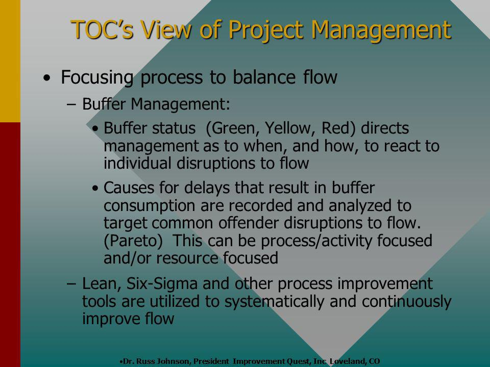 TOCs View of Project Management Focusing process to balance flow – –Buffer Management: Buffer status (Green, Yellow, Red) directs management as to whe