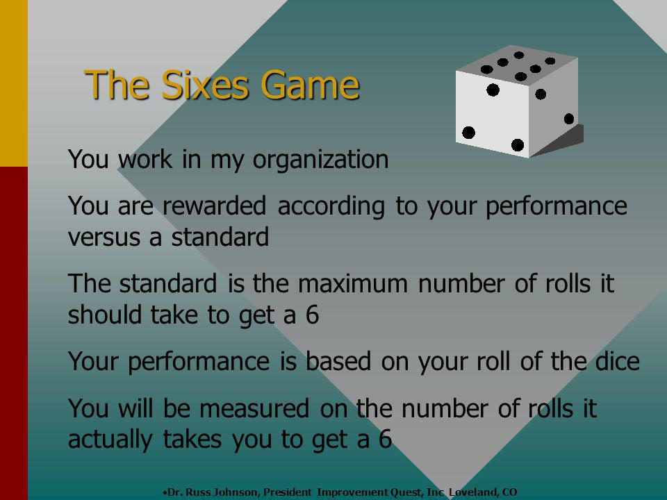 Dr. Russ Johnson, President Improvement Quest, Inc Loveland, CO The Sixes Game You work in my organization You are rewarded according to your performa