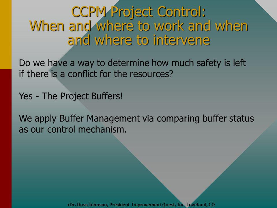 Dr. Russ Johnson, President Improvement Quest, Inc Loveland, CO Do we have a way to determine how much safety is left if there is a conflict for the r