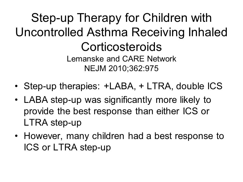 Step-up Therapy for Children with Uncontrolled Asthma Receiving Inhaled Corticosteroids Lemanske and CARE Network NEJM 2010;362:975 Step-up therapies: +LABA, + LTRA, double ICS LABA step-up was significantly more likely to provide the best response than either ICS or LTRA step-up However, many children had a best response to ICS or LTRA step-up
