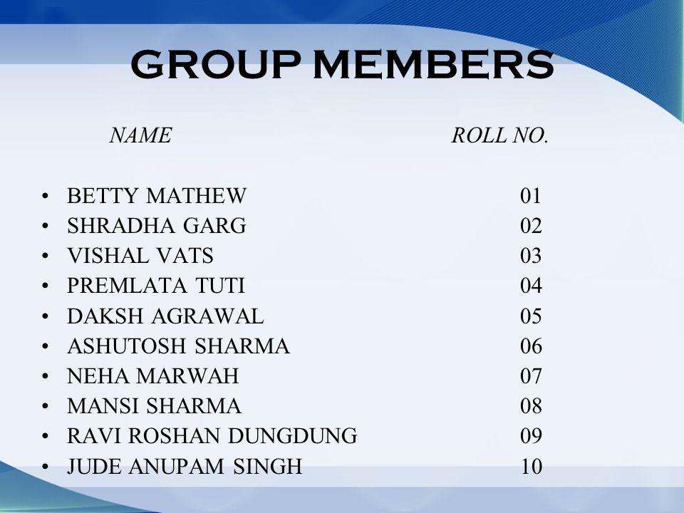 GROUP MEMBERS NAMEROLL NO.