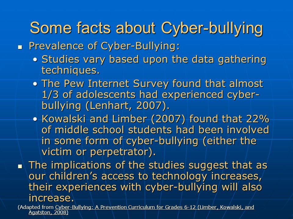 Some facts about Cyber-bullying Prevalence of Cyber-Bullying: Prevalence of Cyber-Bullying: Studies vary based upon the data gathering techniques.Studies vary based upon the data gathering techniques.