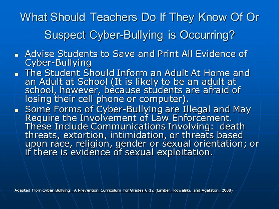 What Should Teachers Do If They Know Of Or Suspect Cyber-Bullying is Occurring.