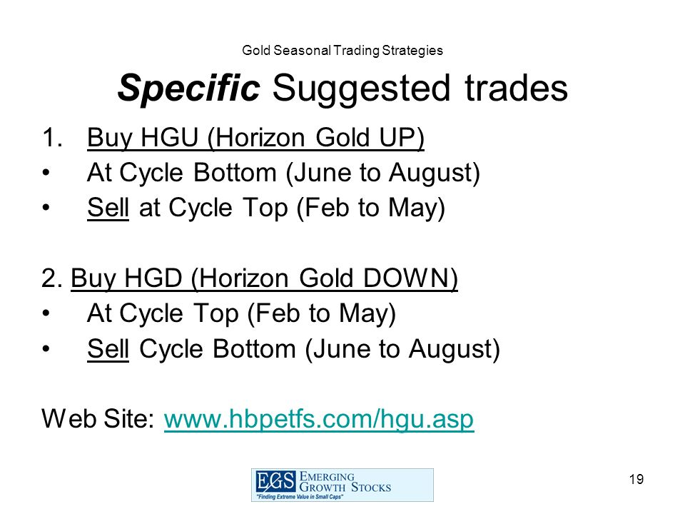 19 Gold Seasonal Trading Strategies Specific Suggested trades 1.Buy HGU (Horizon Gold UP) At Cycle Bottom (June to August) Sell at Cycle Top (Feb to M