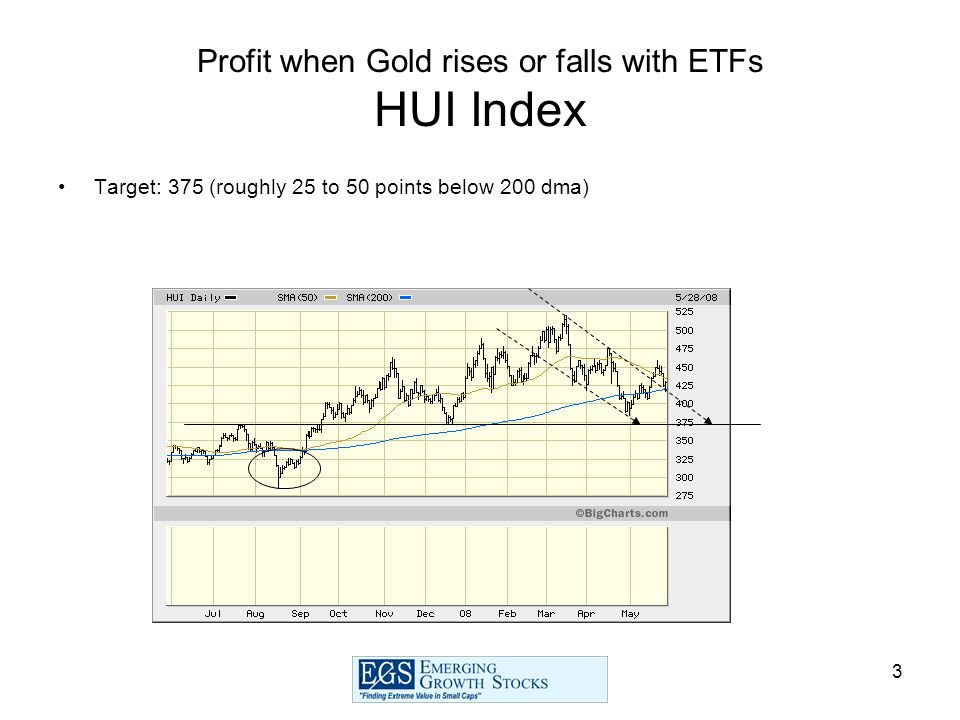 3 Profit when Gold rises or falls with ETFs HUI Index Target: 375 (roughly 25 to 50 points below 200 dma)
