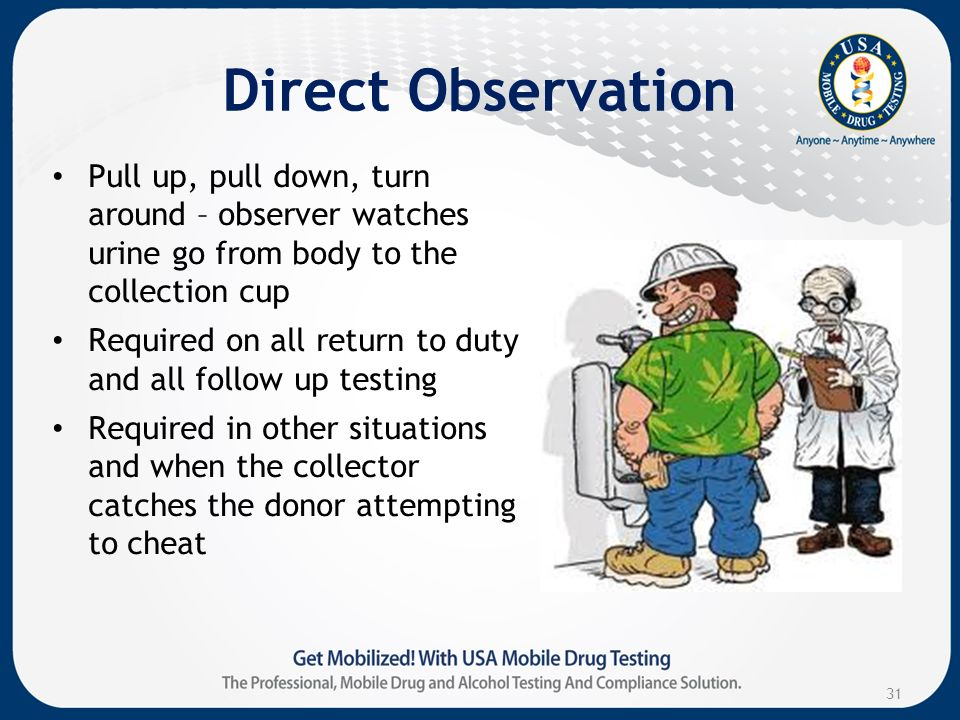 Direct Observation Pull up, pull down, turn around – observer watches urine go from body to the collection cup Required on all return to duty and all follow up testing Required in other situations and when the collector catches the donor attempting to cheat 31