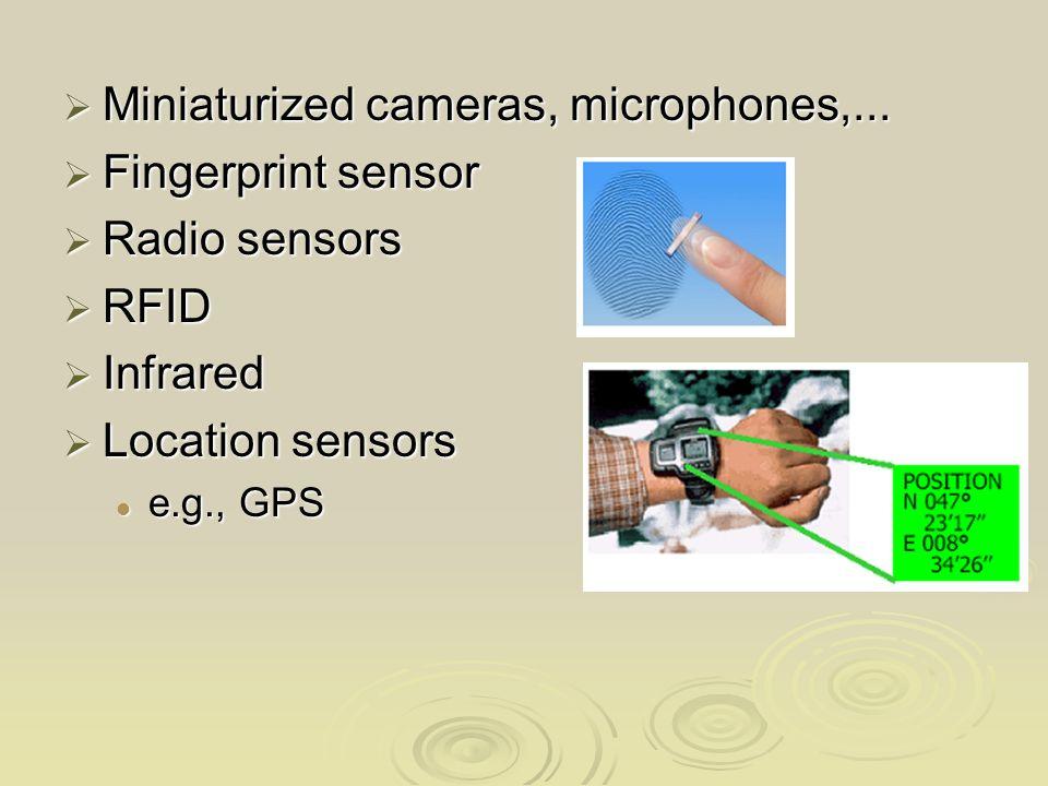 Miniaturized cameras, microphones,... Miniaturized cameras, microphones,... Fingerprint sensor Fingerprint sensor Radio sensors Radio sensors RFID RFI