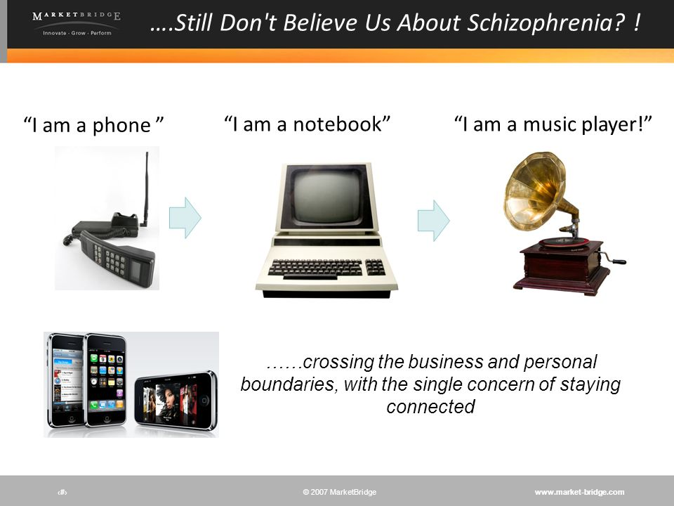 www.market-bridge.com© 2007 MarketBridge # ….Still Don't Believe Us About Schizophrenia? ! I am a music player!I am a notebook I am a phone ……crossing