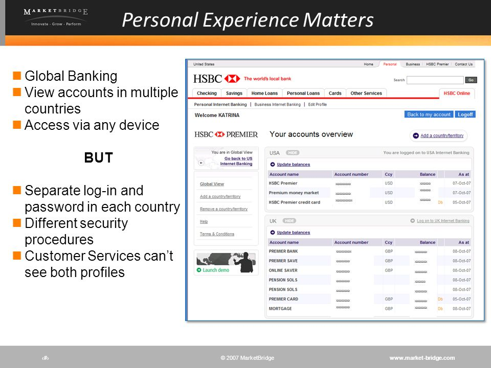 www.market-bridge.com© 2007 MarketBridge # Personal Experience Matters Global Banking View accounts in multiple countries Access via any device BUT Se