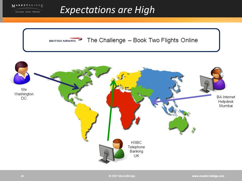 www.market-bridge.com© 2007 MarketBridge # Expectations are High The Challenge – Book Two Flights Online BA Internet Helpdesk Mumbai HSBC Telephone Ba