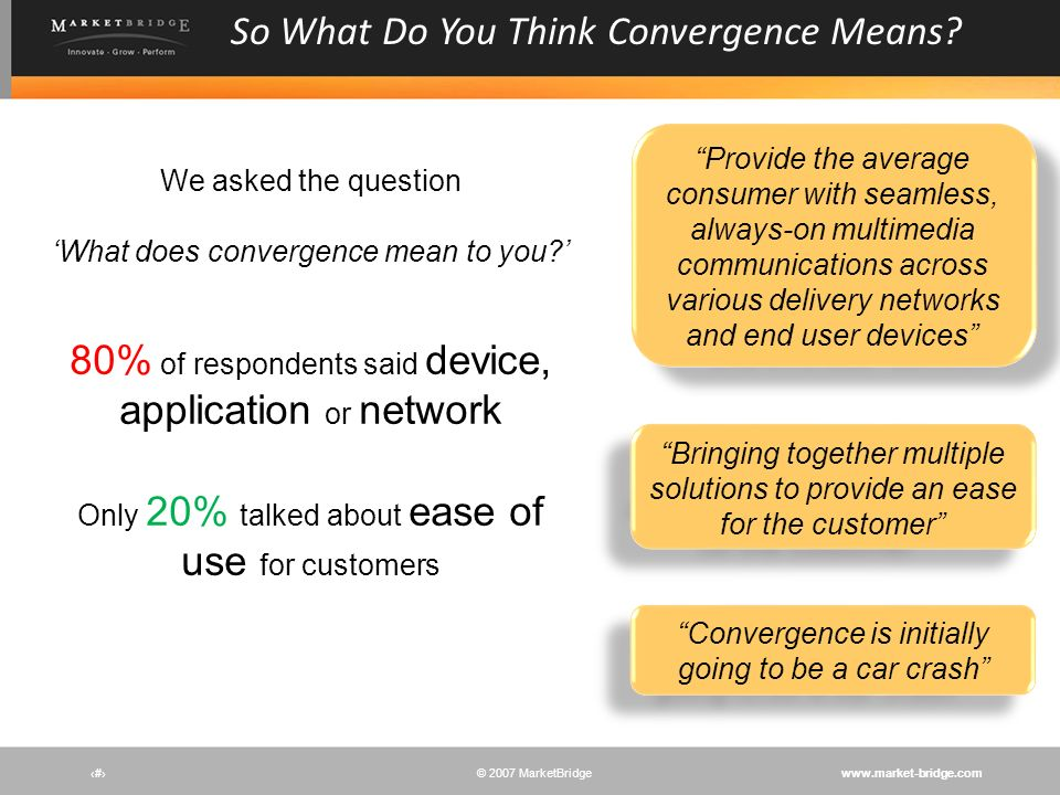 www.market-bridge.com© 2007 MarketBridge 80% of respondents said device, application or network Only 20% talked about ease of use for customers # So W