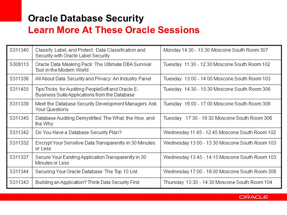 Oracle Database Security Learn More At These Oracle Sessions S311340Classify, Label, and Protect: Data Classification and Security with Oracle Label Security Monday 14:30 - 15:30 Moscone South Room 307 S308113Oracle Data Masking Pack: The Ultimate DBA Survival Tool in the Modern World Tuesday 11:30 - 12:30 Moscone South Room 102 S311338All About Data Security and Privacy: An Industry PanelTuesday 13:00 - 14:00 Moscone South Room 103 S311455Tips/Tricks for Auditing PeopleSoft and Oracle E- Business Suite Applications from the Database Tuesday 14:30 - 15:30 Moscone South Room 306 S311339Meet the Database Security Development Managers: Ask Your Questions Tuesday 16:00 - 17:00 Moscone South Room 306 S311345Database Auditing Demystified: The What, the How, and the Why Tuesday 17:30 - 18:30 Moscone South Room 306 S311342Do You Have a Database Security Plan?Wednesday 11:45 - 12:45 Moscone South Room 102 S311332Encrypt Your Sensitive Data Transparently in 30 Minutes or Less Wednesday 13:00 - 13:30 Moscone South Room 103 S311337Secure Your Existing Application Transparently in 30 Minutes or Less Wednesday 13:45 - 14:15 Moscone South Room 103 S311344Securing Your Oracle Database: The Top 10 ListWednesday 17:00 - 18:00 Moscone South Room 308 S311343Building an Application.