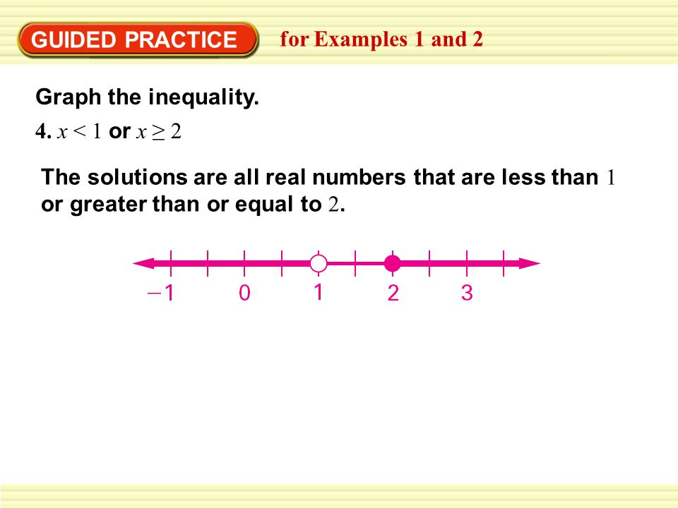 GUIDED PRACTICE for Examples 1 and 2 Graph the inequality. 4. x < 1 or x 2 The solutions are all real numbers that are less than 1 or greater than or
