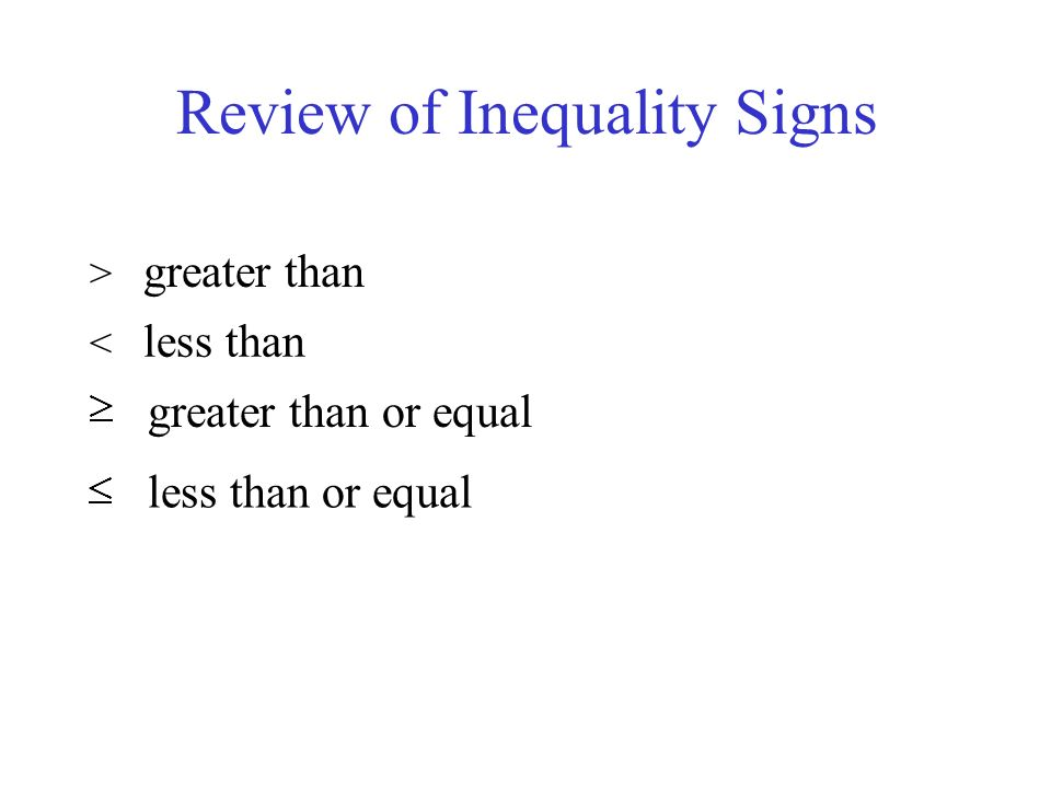 Review of Inequality Signs > greater than < less than greater than or equal less than or equal