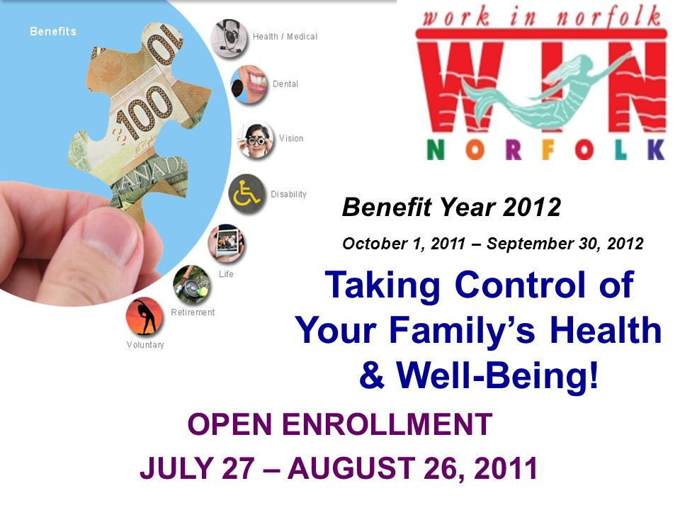 OPEN ENROLLMENT JULY 27 – AUGUST 26, 2011 Taking Control of Your Familys Health & Well-Being.