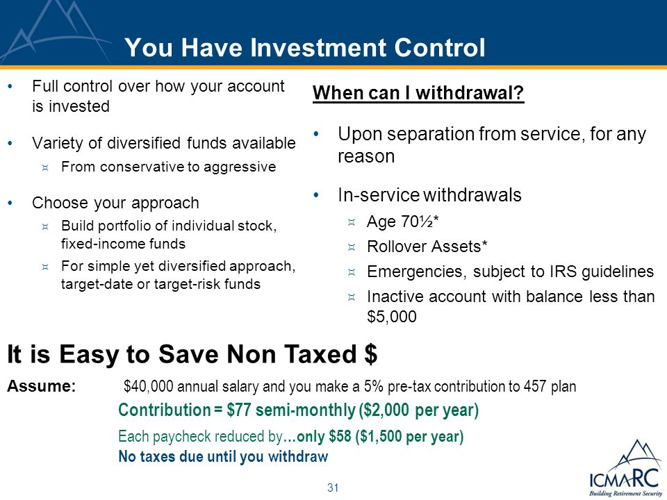 31 You Have Investment Control Full control over how your account is invested Variety of diversified funds available From conservative to aggressive Choose your approach Build portfolio of individual stock, fixed-income funds For simple yet diversified approach, target-date or target-risk funds When can I withdrawal.