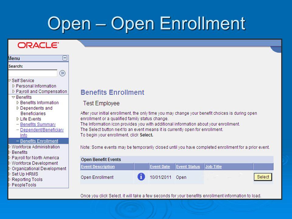 Open – Open Enrollment