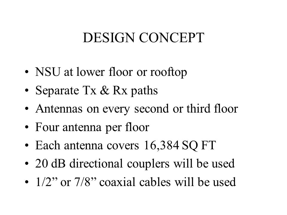 DESIGN CONCEPT NSU at lower floor or rooftop Separate Tx & Rx paths Antennas on every second or third floor Four antenna per floor Each antenna covers