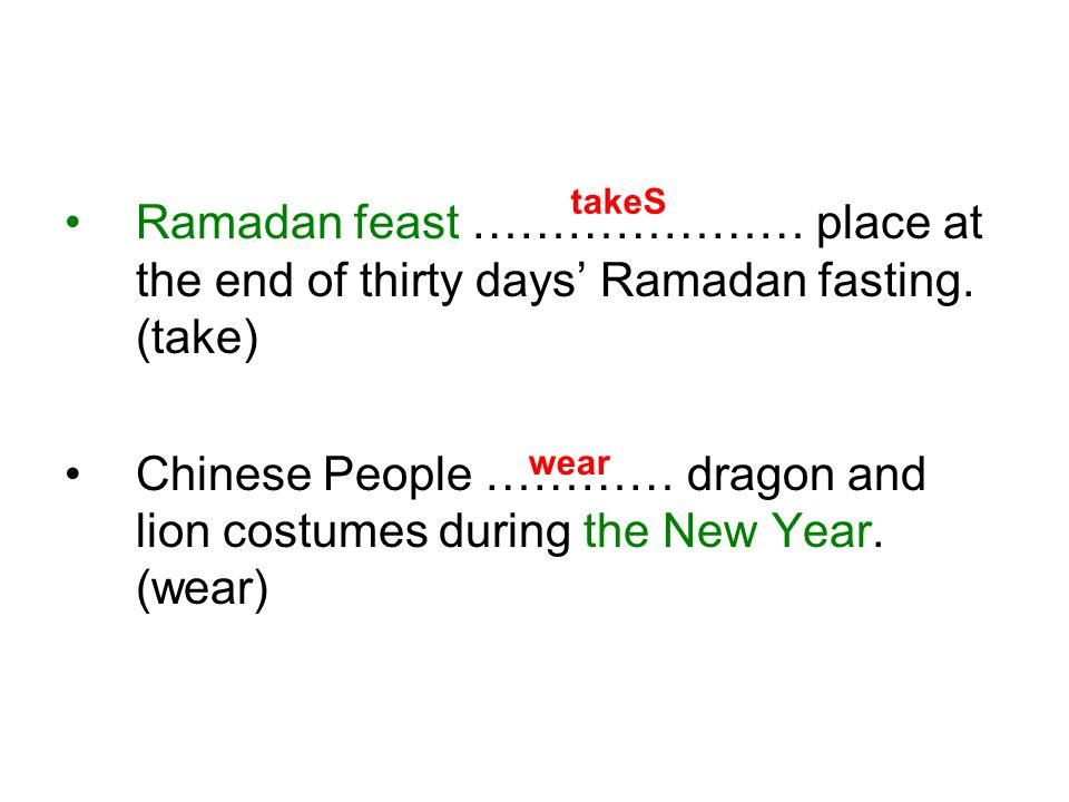 Ramadan feast ………………… place at the end of thirty days Ramadan fasting.