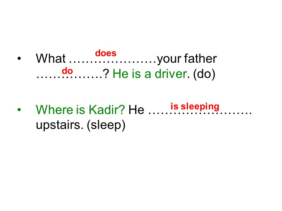 What …………………your father …………….. He is a driver. (do) Where is Kadir.