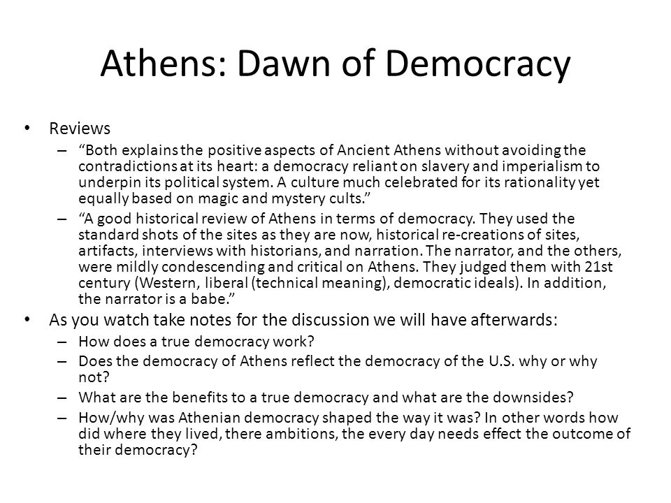 Athens: Dawn of Democracy Reviews – Both explains the positive aspects of Ancient Athens without avoiding the contradictions at its heart: a democracy reliant on slavery and imperialism to underpin its political system.