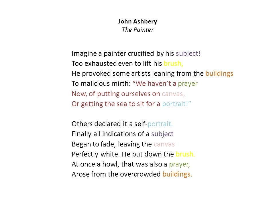 John Ashbery The Painter Imagine a painter crucified by his subject.