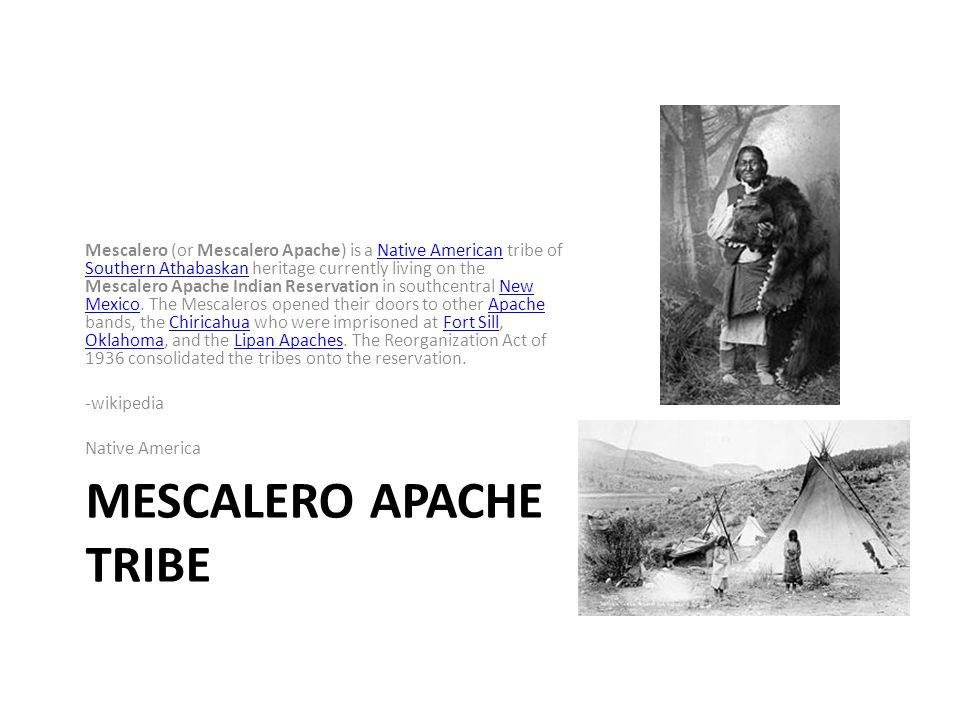 MESCALERO APACHE TRIBE Mescalero (or Mescalero Apache) is a Native American tribe of Southern Athabaskan heritage currently living on the Mescalero Apache Indian Reservation in southcentral New Mexico.