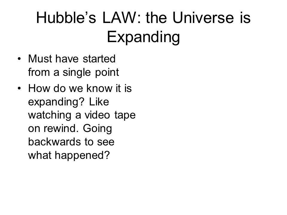Hubbles LAW: the Universe is Expanding Must have started from a single point How do we know it is expanding.