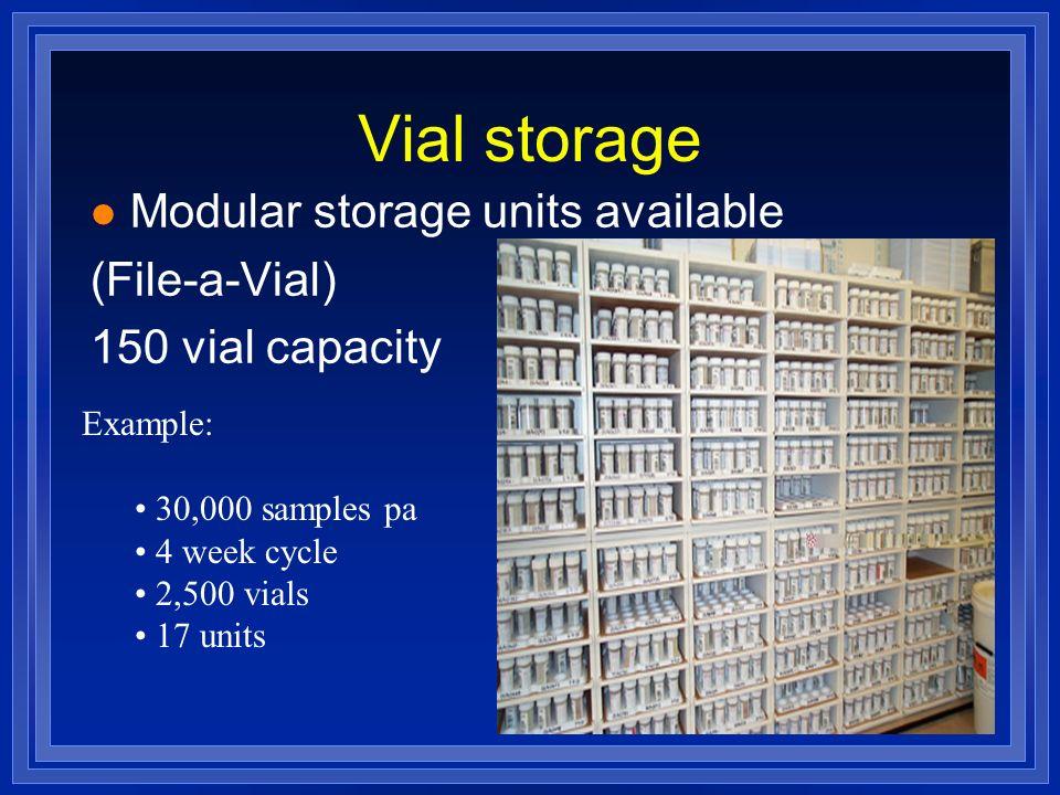 Vial storage l Modular storage units available (File-a-Vial) 150 vial capacity Example: 30,000 samples pa 4 week cycle 2,500 vials 17 units