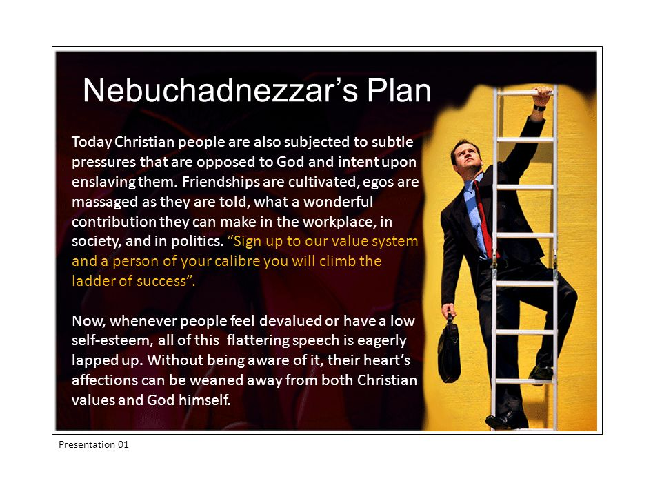 Presentation 01 Today Christian people are also subjected to subtle pressures that are opposed to God and intent upon enslaving them.