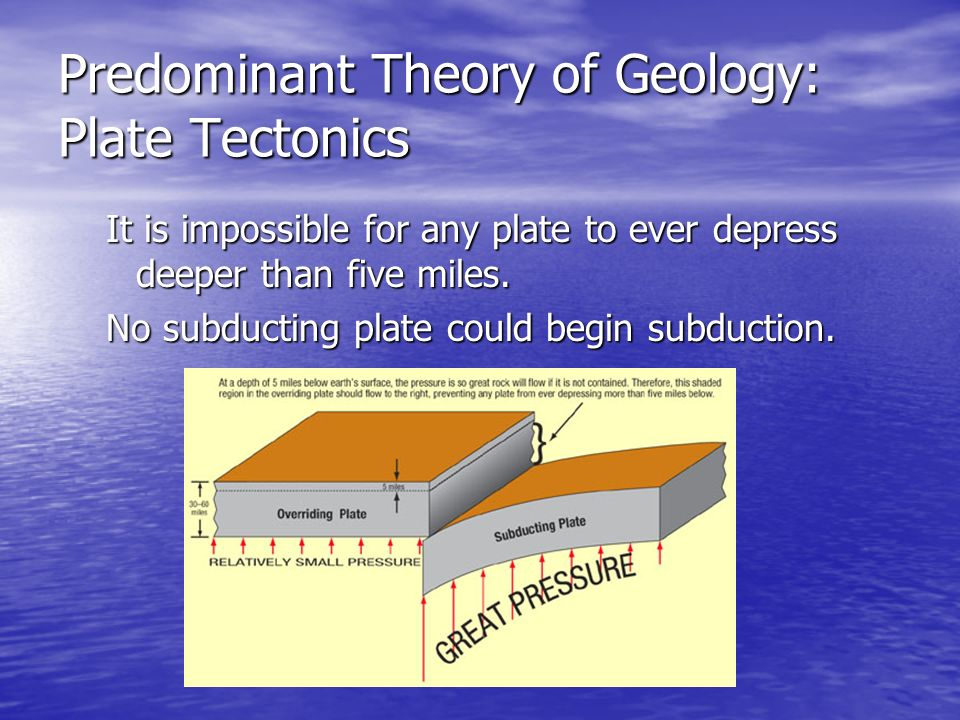 It is impossible for any plate to ever depress deeper than five miles. No subducting plate could begin subduction.