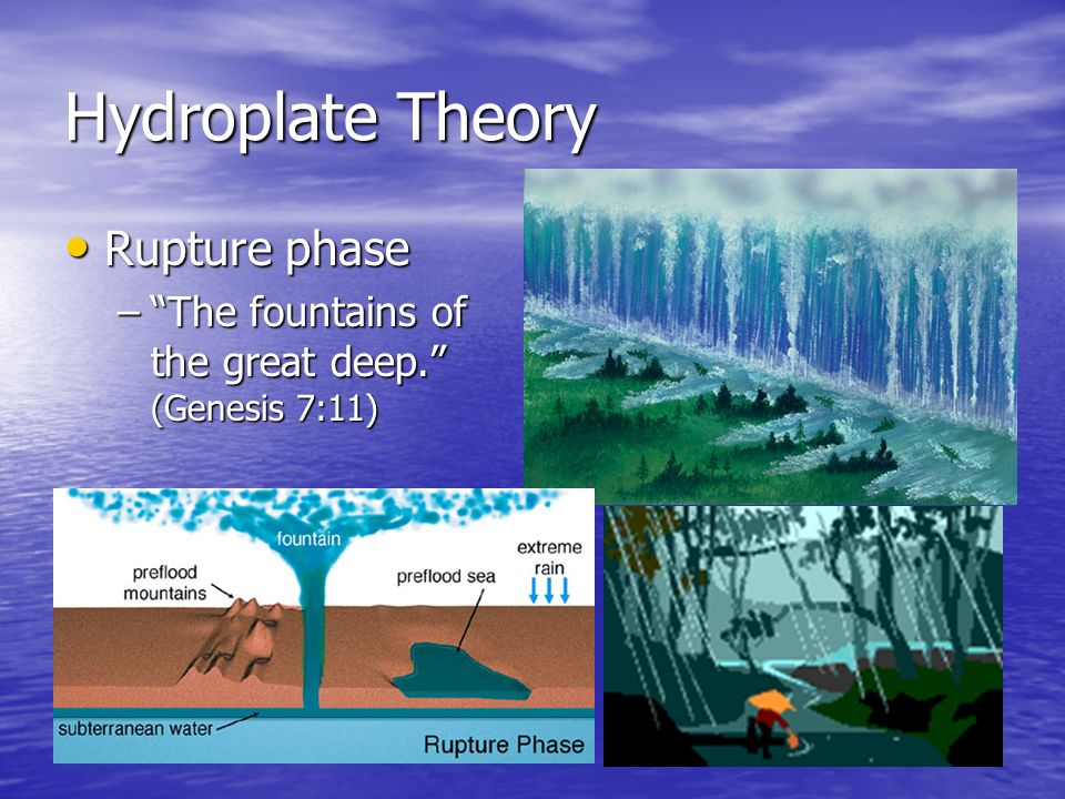 Hydroplate Theory Rupture phase Rupture phase –The fountains of the great deep. (Genesis 7:11)