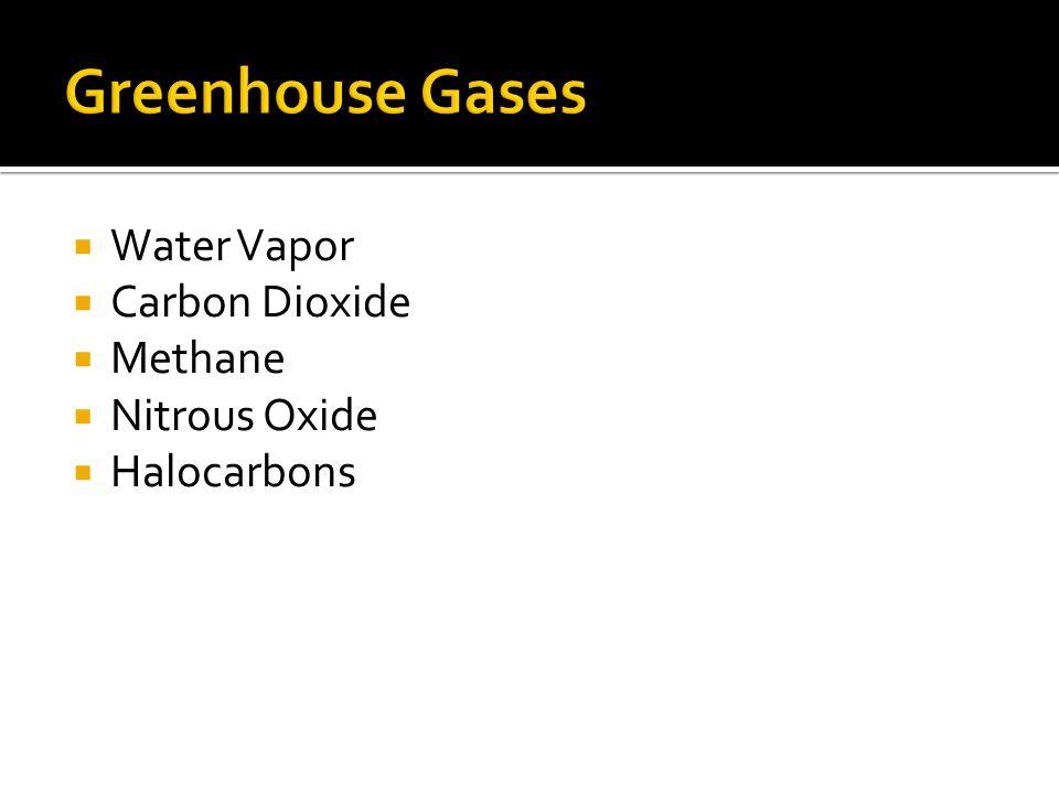 Water Vapor Carbon Dioxide Methane Nitrous Oxide Halocarbons