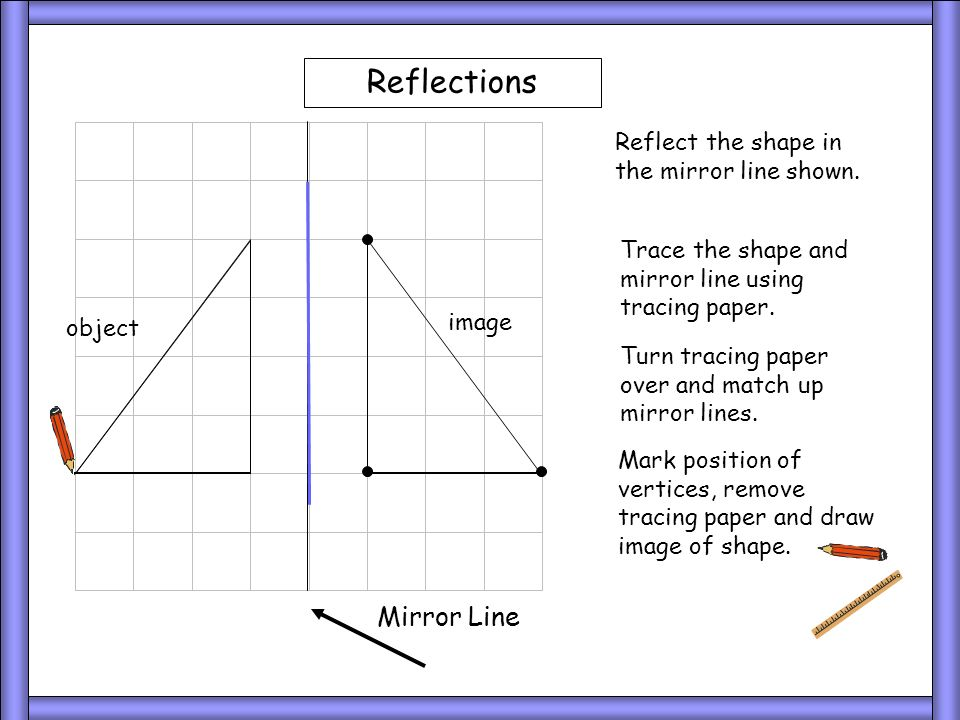 object Mirror Line Reflect the shape in the mirror line shown. Reflections Trace the shape and mirror line using tracing paper. Turn tracing paper ove