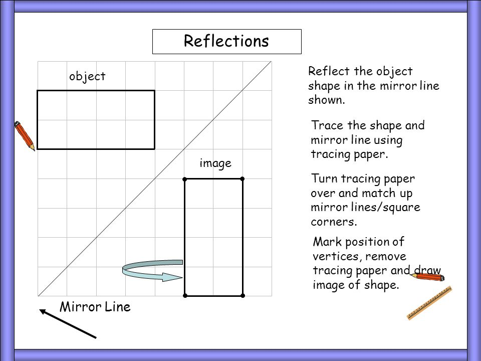 Reflections Reflect the object shape in the mirror line shown. Trace the shape and mirror line using tracing paper. Turn tracing paper over and match