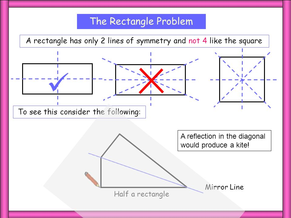 Rectangle The Rectangle Problem A rectangle has only 2 lines of symmetry and not 4 like the square To see this consider the following: Half a rectangl